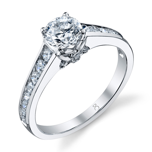channel set diamond lead up to butterfly setting of the center stone a graceful interpretation of a classic engagement ring available in 18kt white gold - Butterfly Wedding Rings